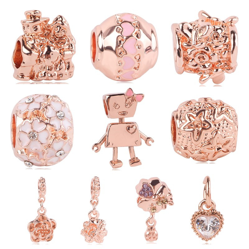 dodocharms 2018 New Rose Gold Robot Flower Love Lovers DIY Bead Fits Pandora Charm Bracelet Pendant W Jewelry