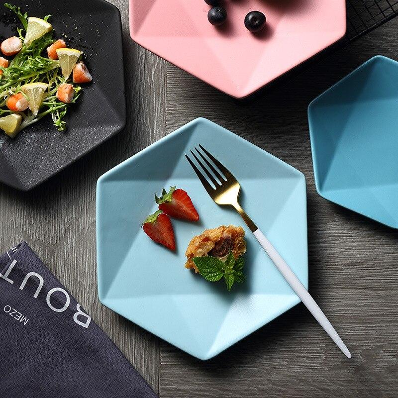 Western Salad Dishes: Ceramic Dinner Plates Hexagonal Matte Steak Pasta Dessert
