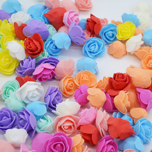 50/100Pcs 3cm Mini Artificial Flower Head Fake Foam Multicolor Rose Wedding Decoration DIY Wreath Scrapbooking Box Gift Supplies
