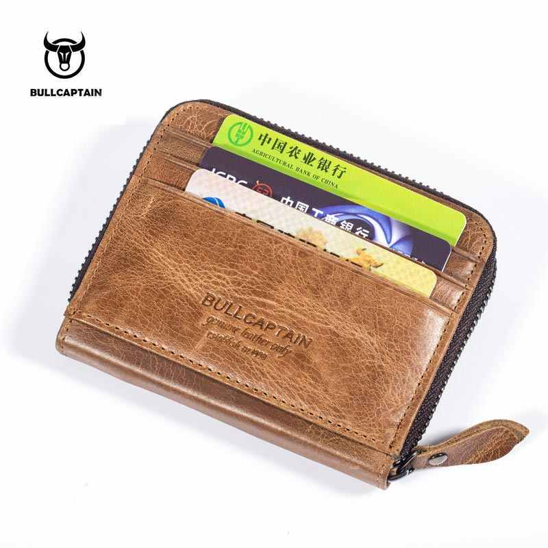 BULLCAPTAIN 2019 Couro Homens Carteiras Curtas de Couro Pequena Carteira Zíper Do Vintage Cartão Bolsa Titulares de Cartão de Bolsa para Homens Masculino NCZ066