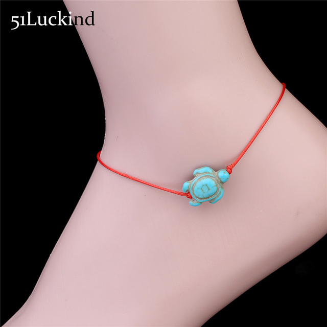 Boho Red Rope Ankle Bracelet Cute Foot Chain Halhal Green Sea Turtle Anklet Jewelry For