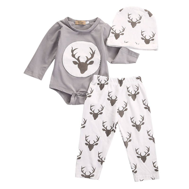 3PCS Newborn Infant Toddler Baby Boy Girl Deer Tops Romper Pants Hat Outfit Set Casual Clothes 0-18M newborn infant baby boy girl cotton tops romper pants 3pcs outfits set clothes warm toddler boys girls clothing set casual soft