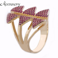 Moonmory New 100% Real 925 Sterling Silver Butterfly Rings With Charming Red Zirconia Fit For Women Wedding Engagement Jewelry