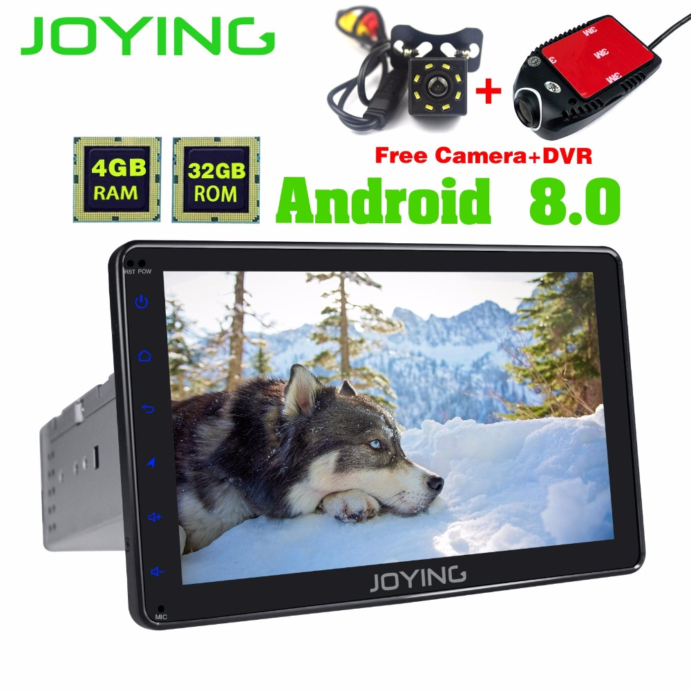 JOYING 8 1 Din Android 8 Car Multimedia Video Tablet GPS Navigation Radio Stereo Player with free DVR rear view reverse camera