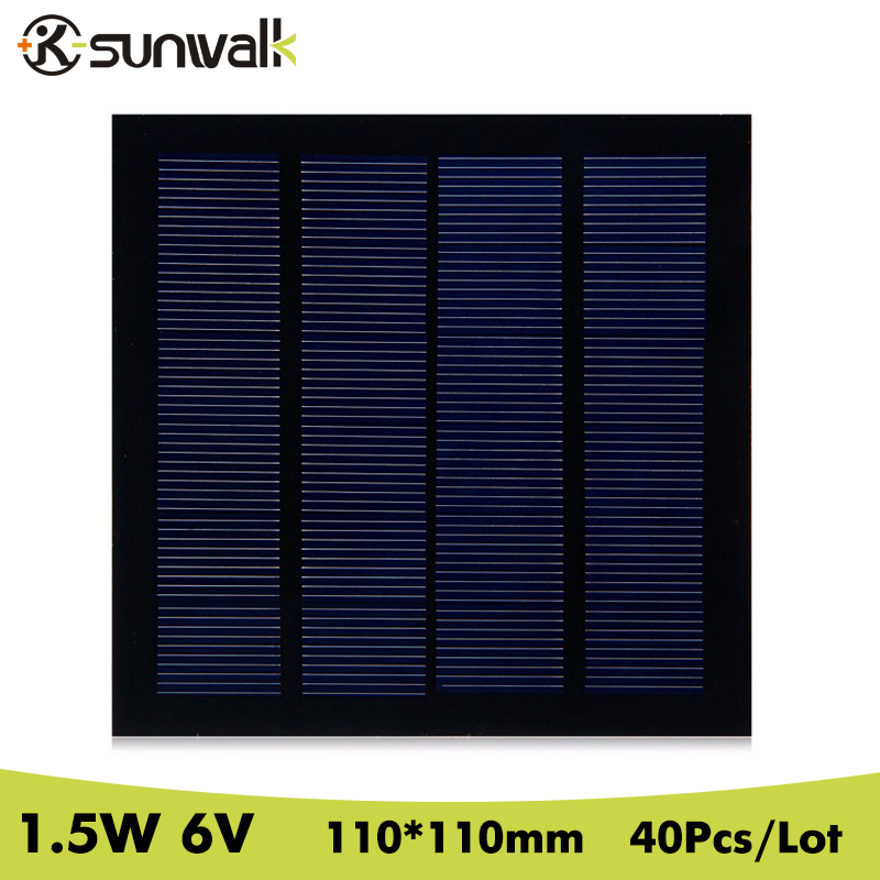SUWALK 40Pcs/Lot 6V 250mA 1.5Watt Solar Panel Cell Mini Polycrystalline PET DIY Solar Panel Module for DIY Led Light 110*110mm