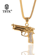 TBTK Hand Gun Shape Short Gun Pendant Necklace Paved Bling Clear Rhinestones Pendant Gold Metal Punk Jewelry Charm Trendy Unisex(China)