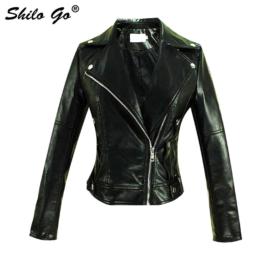 Streetwear   Leather   Jacket Women Autumn Locomotive Faux   leather   coat black metal lapel collar zipper Casual jacket winter outwear