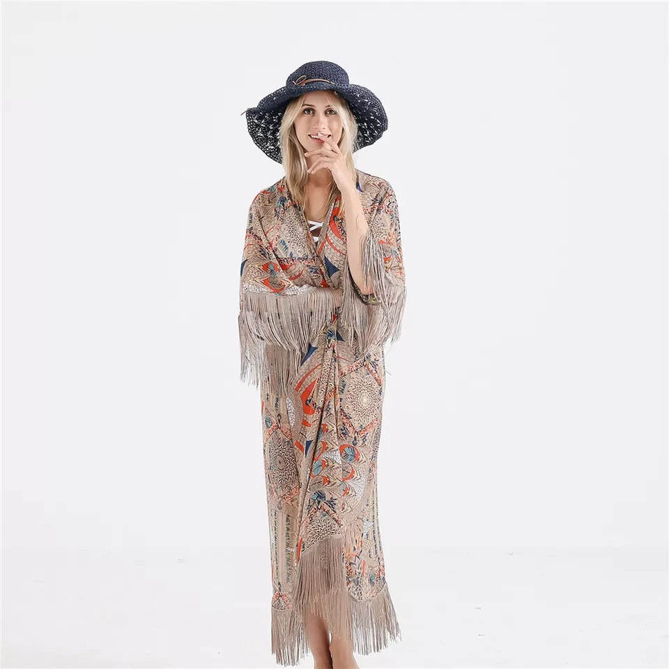 Women's printed Poncho Sun Protection beach bikini fashion bohemia long poncho(China)