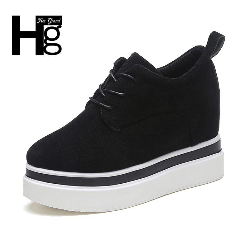 HEE GRAND 2017 New Fashion Women Casual  Daily Shoes Black Woman High  Platform Lace up Green Girl Shoes Size 35-39 XWC1238 hee grand 2017 new fisherman shoes woman spring silver loafers casual flats lace up creepers platform women shoes xwd5625
