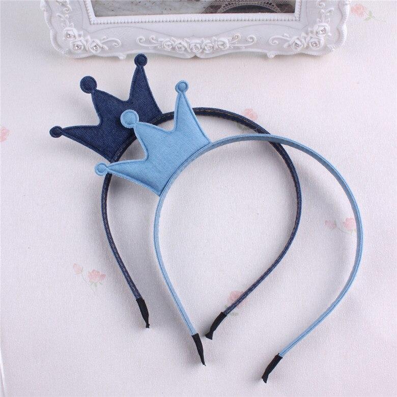≧Denim princesa corona vinchas para Niñas color sólido azul Bandas ...