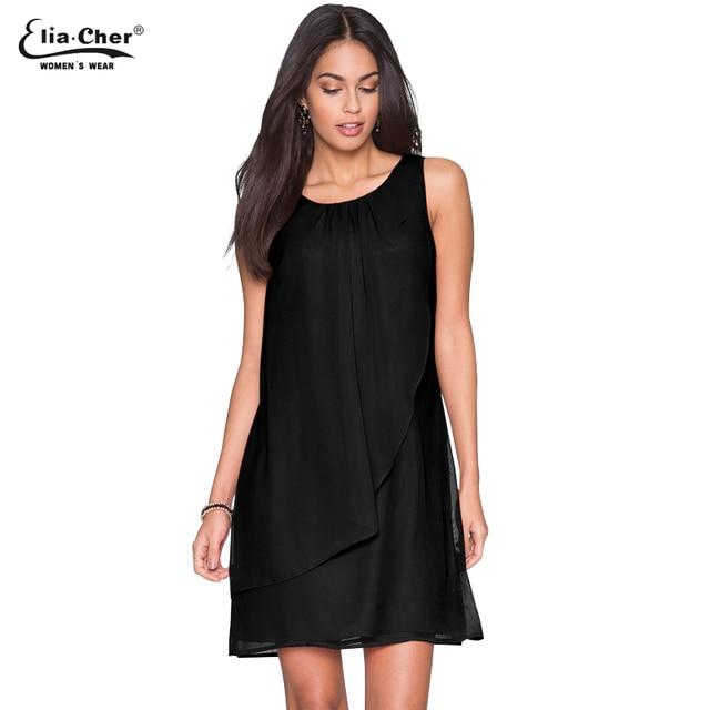 Chiffon Dress Women new Chic Elegant Summer Dress Eliacher Brand Plus Size  Casual Women Clothing Black Dresses vestidos 8611 e02ba59b5288
