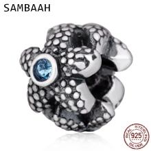 Sambaah Sea Star Charm with Austrian Crystal 925 Antique Sterling Silver Beads fit Pandora Summer Ocean Bracelet SS2926
