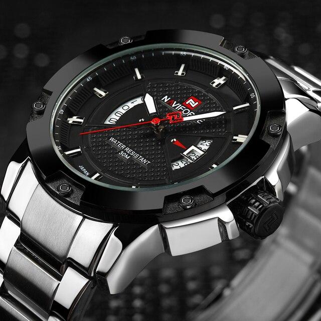 83cae02c4f7 NAVIFORCE Top Moda masculina Aço Completa relógios de Pulso de Quartzo de  Prata Data de Negócios