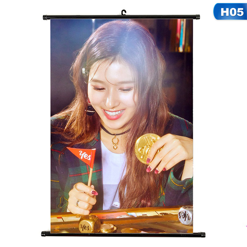 1Pcs Kpop TWICE YES Or YES Album Hanging Photo Card Painting Wall Scroll Poster Stationery Set