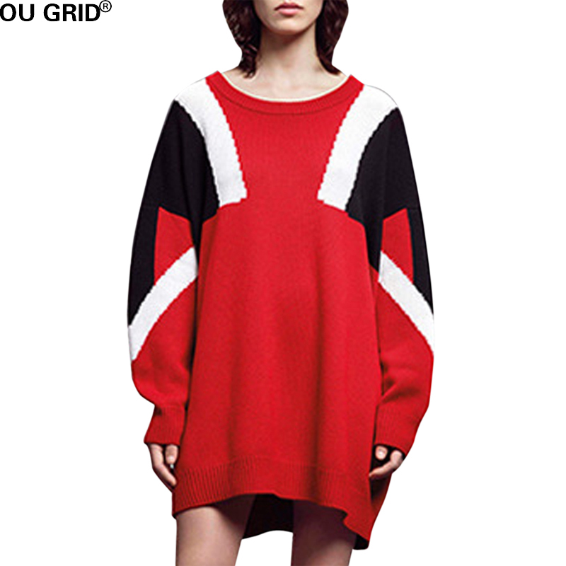 Women Red Sweater Dress Plus Size L 5xl Loose Patchwork Cotton