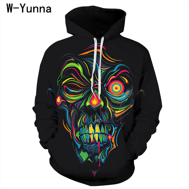 W-Yunna 2018 Gothic Skull Print Bts Hoodies Hip Hop Loose Oversized Hoodies for Women/men High Quality Causal Sudadera Mujer