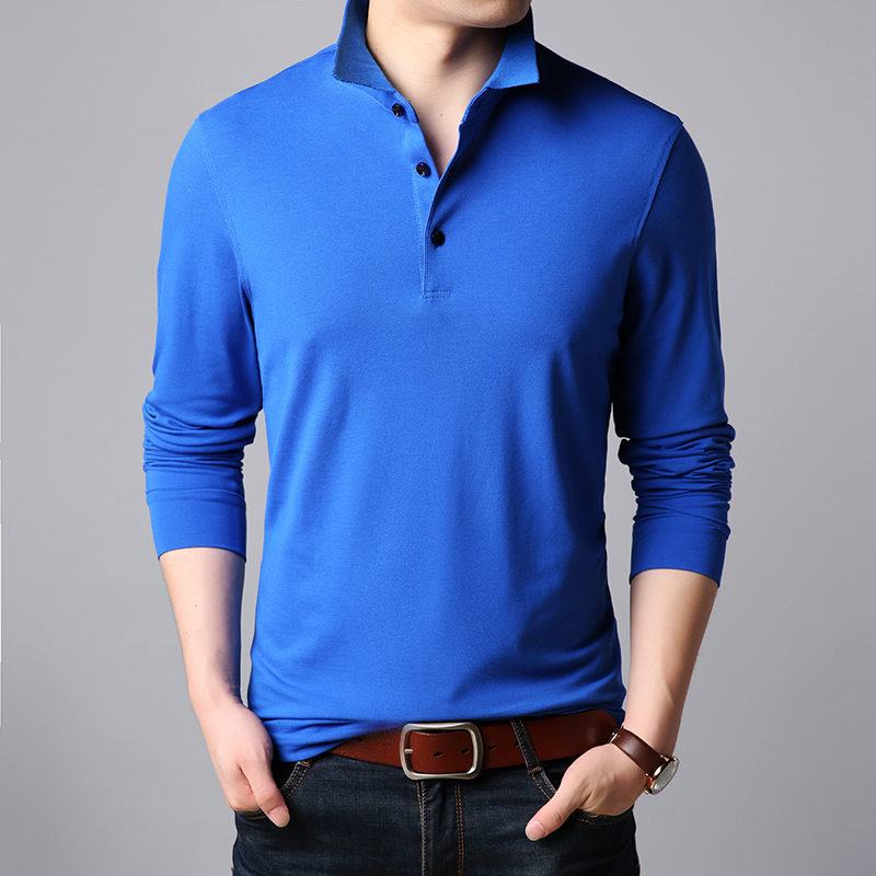 2019 New Fashions Brands   Polo   Shirt Men Stand Color Long Sleeve Slim Fit   Polos   Mandarin Collar Boys Casual Mens Clothing