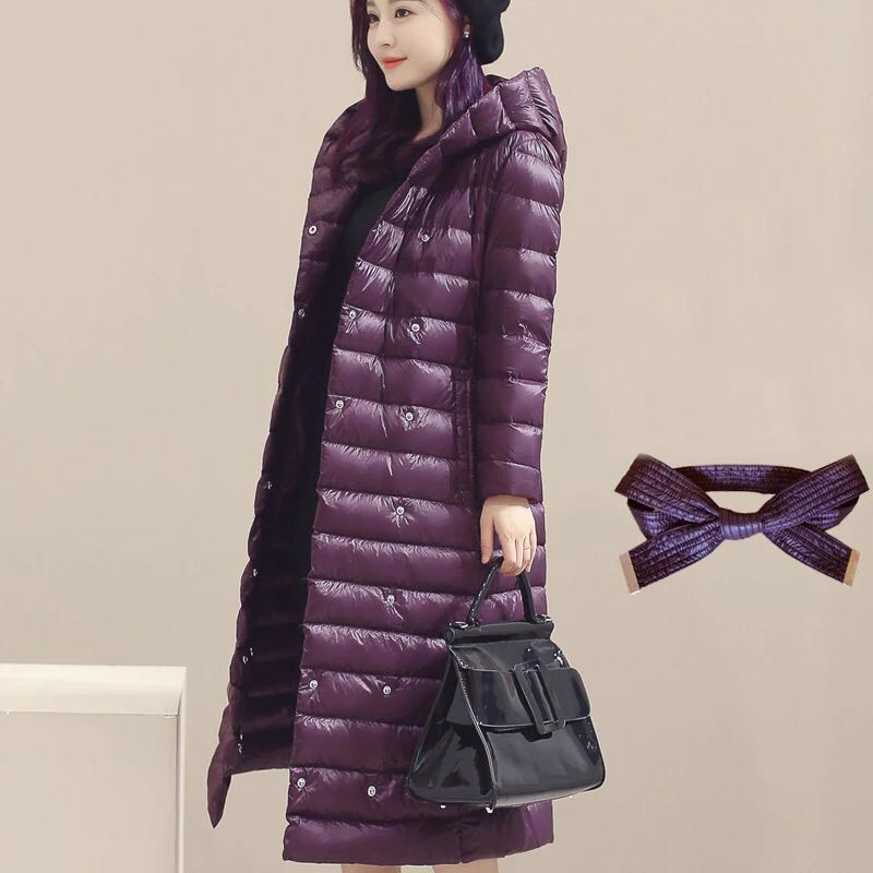 Autumn Winter Fashion Sashes White Duck   Down     Coat   Women Hooded Adjustable Waist   Down   Long Jacket Windproof Female Outwears Mw165
