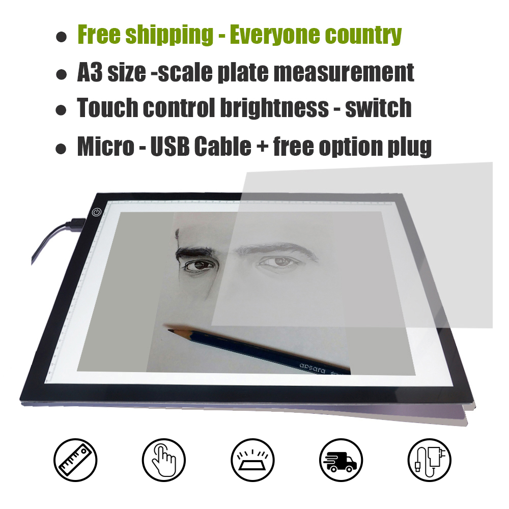 A3  New product ideas Electronic products Import AAA acrylic material LED drawing board for kids study drawing on desk tablet drawing