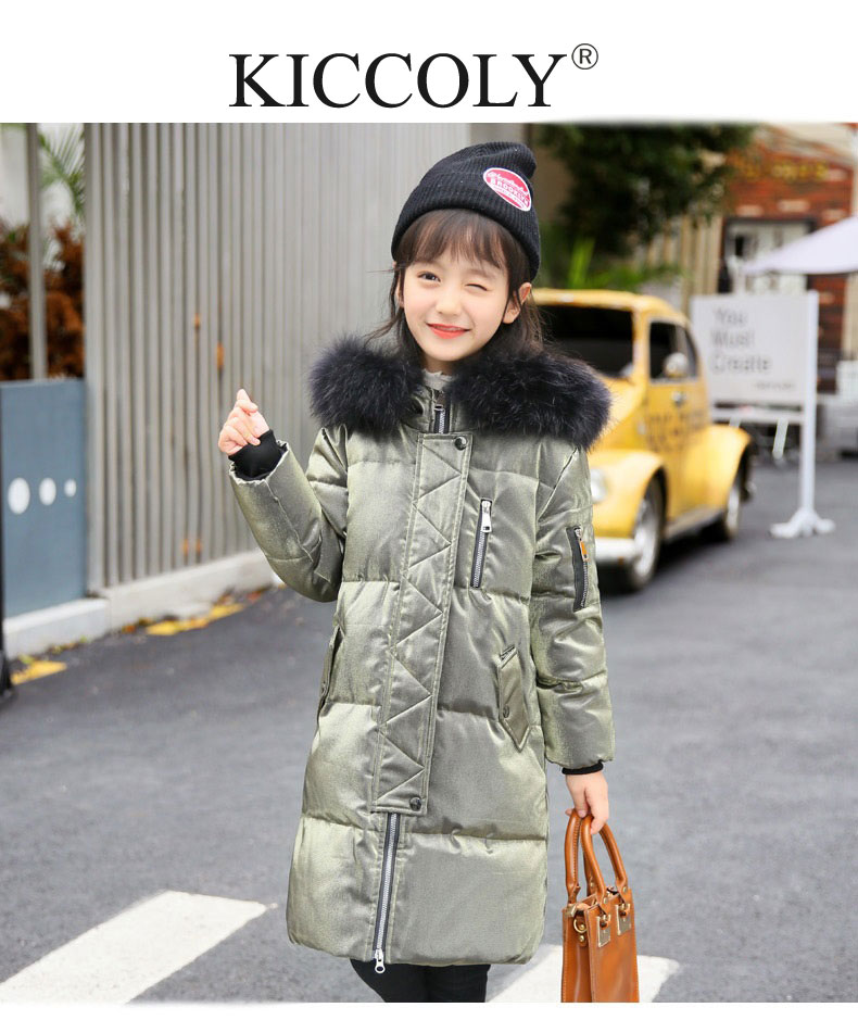 2017 Fashion Bright Warm kids Down Jacket For Girl Children Cold Winter Hooded Fur Collar Long Jackets Coat Clothes Parka 5-10T new army green long raccoon fur collar coat women winter real fox fur liner hooded jacket women bomber parka female ladies fp890