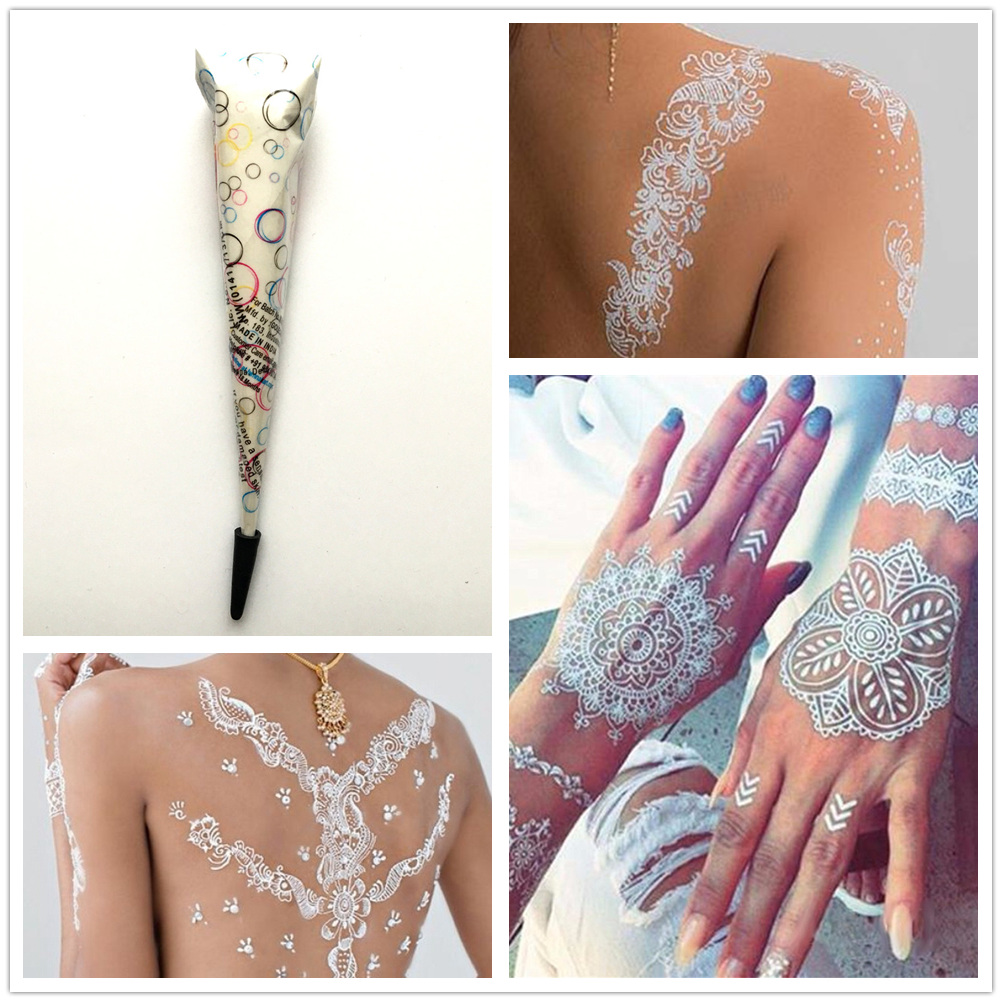 Indian White Henna Paste Women Temporary Natural Henna Tattoo Cone Girl Body Art Paint Waterproof Mehndi Hands Cream For Wedding-in Body Paint from Beauty & Health on Aliexpress.com   Alibaba Group