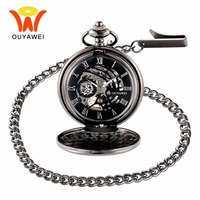 Ouyawei Vintage Skeleton Mechanical Hand Wind Pocket Watch With Chain Men Transparant Clock Necklace Pocket Fob