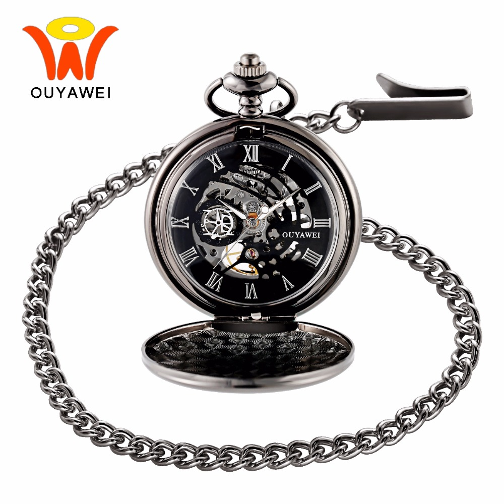 Ouyawei Vintage Skeleton Mechanical Hand Wind Pocket Watch With Chain Men Transparant Clock Necklace Pocket & Fob Watches Man ks black skeleton gun tone roman hollow mechanical pocket watch men vintage hand wind clock fobs watches long chain gift ksp069