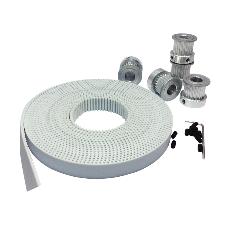 5meters White PU 3M Timing Belt Width 15mm + 5PCS 20 Teeth Pulley Bore 5/6/6.35/8/12mm For HTD3M CNC Engraving Machine Parts