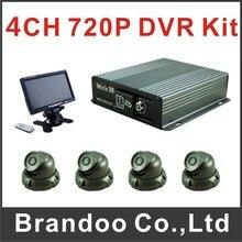 4CH 720 P del coche DVR kit completo, incluyendo DVR 4 cámara de 7 pulgadas monitor para bus, taxi, tren utilizado, apoyo Ruissian menú