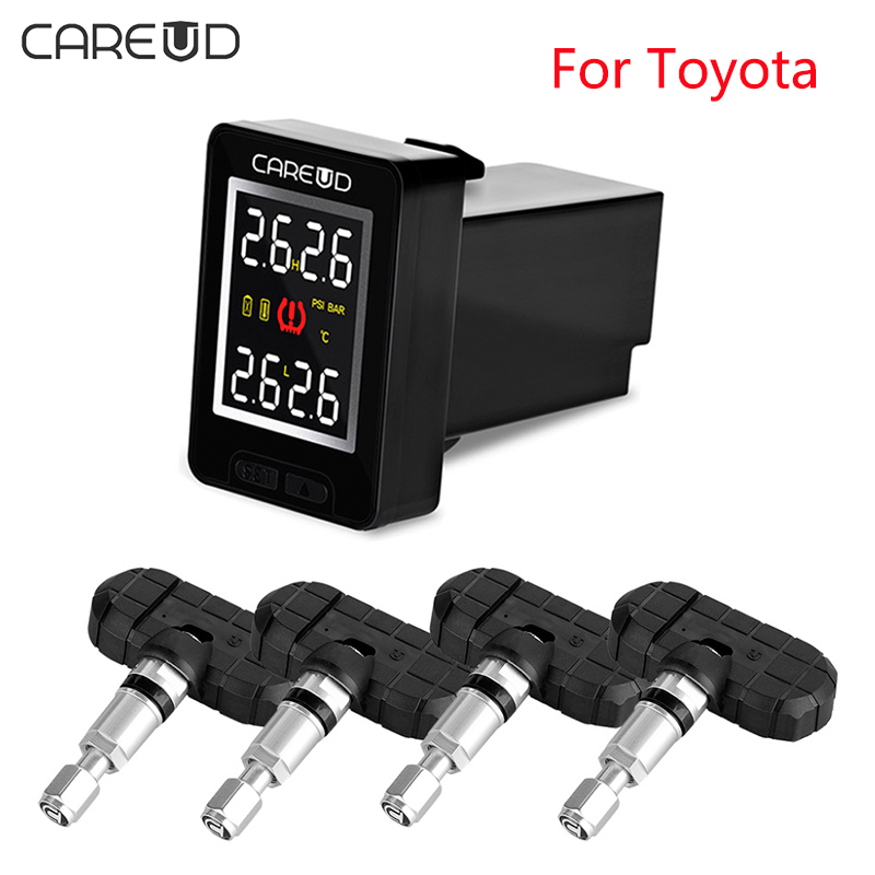 CAREUD U912 TPMS For Toyota / U903 / U906C Car Tire Pressure Wireless Monitoring System with 4 Anti-theft Internal Sensors u912 car tpms wireless auto tire pressure monitoring system 4 sensors lcd embedded monitor for toyota honda