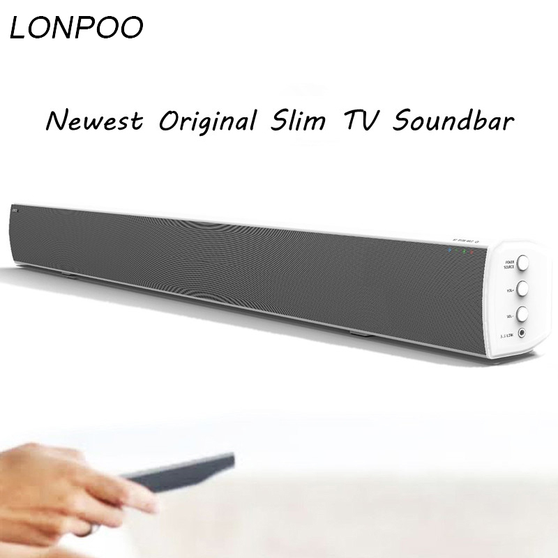 LONPOO Powerful Bluetooth TV SoundBar 40W Wireless Slim Stereo Speaker in built Subwoofer for LED TV