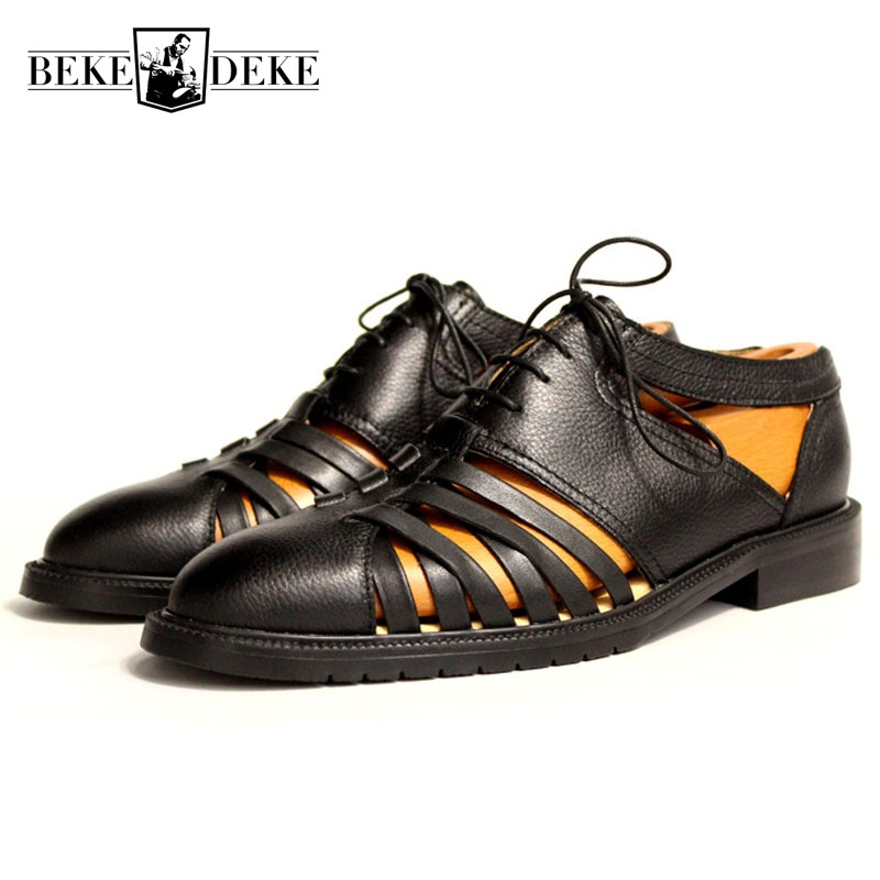 2018 New Vintage Mens Lace Up Hollow Out Beach Sandals Round Toe Block Heels Gladiator Business Genuine Leather Shoes Plus Size
