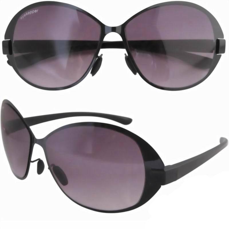 P11068 Lightweight Stainless Steel Frame Plastic Temple Fashion Sunglasses Women Black Frame-Black Temple