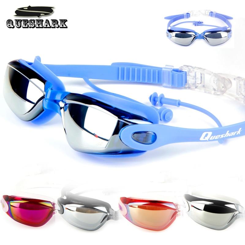 Professional Waterproof Swim Glasses Adult Electroplate Swimming Goggles Men Women Anti-fog UV Swim Sport Eyewear with Ear Plug