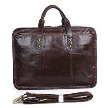 2019 New Vintage Mens Briefcase Cow Leather Laptop Bag Genuine Men Shoulder Bags Crossbody Wholesale