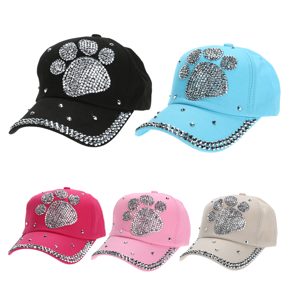 Fashion Casual Casquette Children   Baseball     Cap   Girls Boys Plum Blossom Paw Heart Print   Caps   Diamond Snapback Hats Gorras