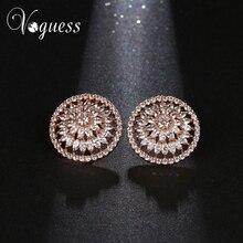 Voguess новые женские серьги стержня AAA CZ Циркон Crystal ювелирные изделия Большой Свадебные серьги Элегантные украшения Аксессуары