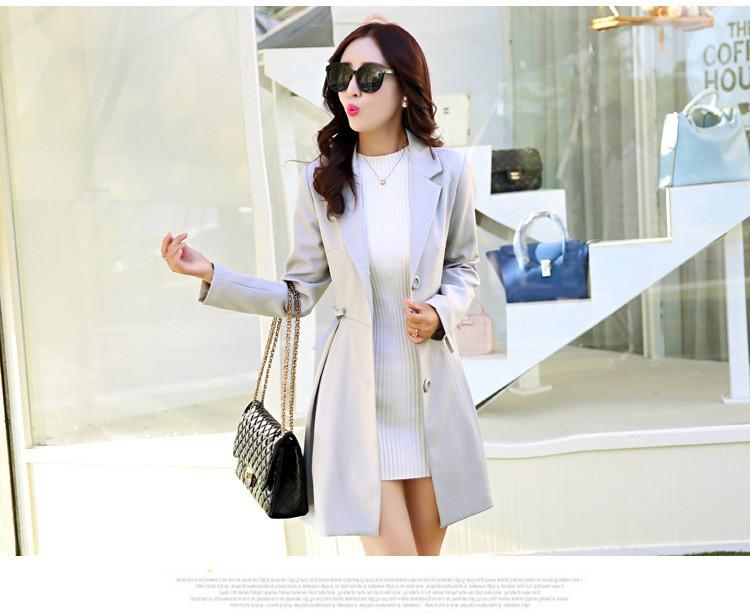 Super Pretty  Elegant Trench Coat Women Windbreaker Ladies Peplum Jacket Pink Grey Green Manteau Femme Silm Long Blazers ccc
