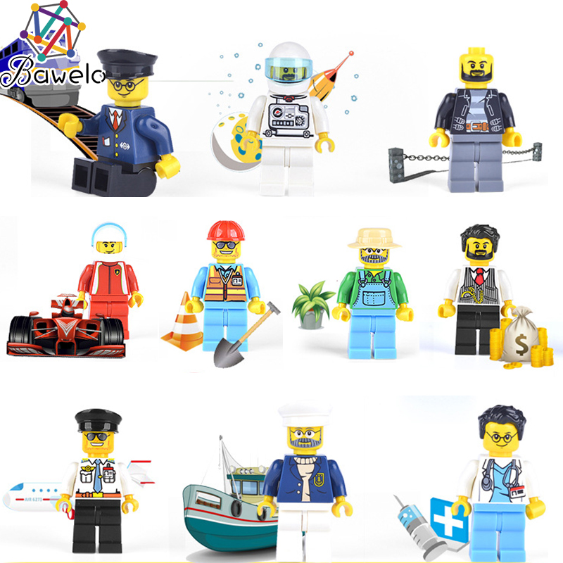 Active 2018 New City 12 Professional Compatible With Legoeinglys Figure City Police Astronaut Building Blocks Diy Assemble Doll Boy Toy