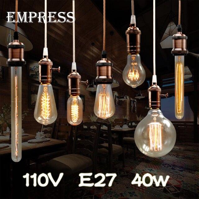 110v Lampada Edison Bulb Lamp Vintage Socket E27 Ceiling Lights 40w Filament Light Diy Rope