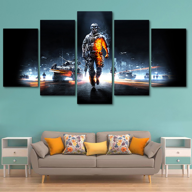 Pictures Framed HD Printed Modern Decor Living Room Wall Art 5 Panel Battlefield Male Warrior Game Home Painting Modular Canvas 3