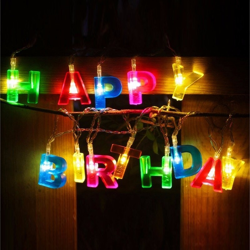 Letter Happy Birthday String Light LED Fairy Lights Battery Power LED Garland Holiday Party Lamp Christmas Decorative Festoon