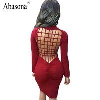 Vestidos Sexy Club Stretch Laced Back Cage Winter Party Dresses Black Night Wear Criss Cross Warm
