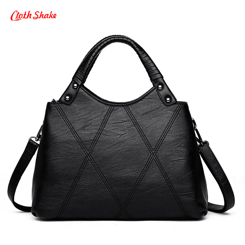 Classic Fashion Women High Capacity Handbag Crossbody Bag Unique Two Layers Design Shoulder Bag PU Leather Ladies Messenger Bags