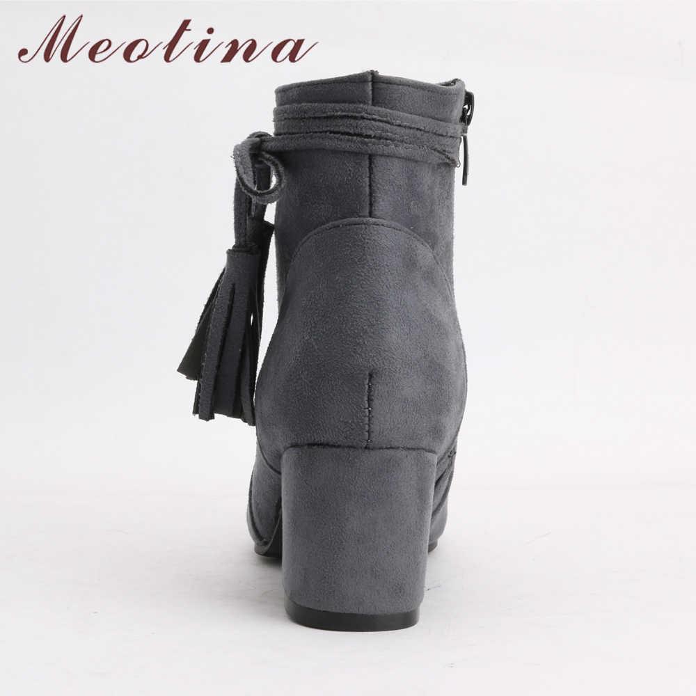 Meotina/женские ботильоны; Зимние полусапожки на не сужающемся книзу массивном каблуке; женская короткая обувь с бахромой; Осенняя обувь для отдыха; цвет бежевый, серый; размеры 46