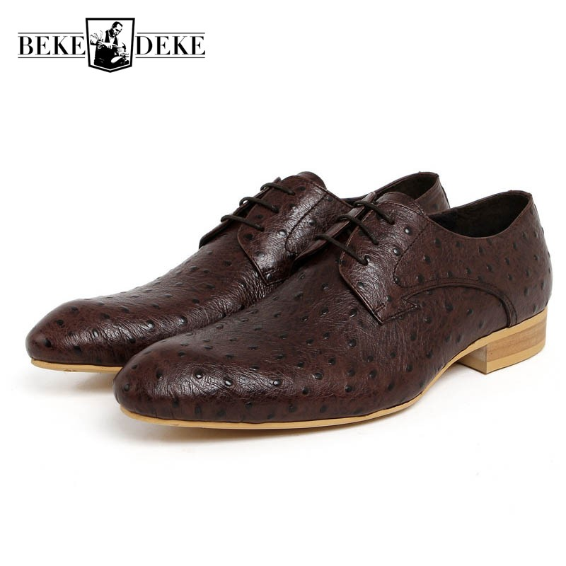 Luxury Italian Men Wedding Black Lace Up Oxfords Genuine Leather Crocodile Print Party Business Male Dress Brown Shoes Footwear good quality men genuine leather shoes lace up men s oxfords flats wedding black brown formal shoes