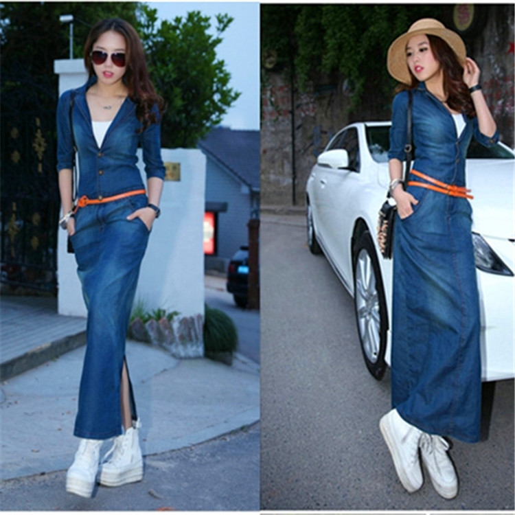 7b2347c33f4 Brand spring European nightlights Ms leg sleeve Barton. Waist was thin denim  dress