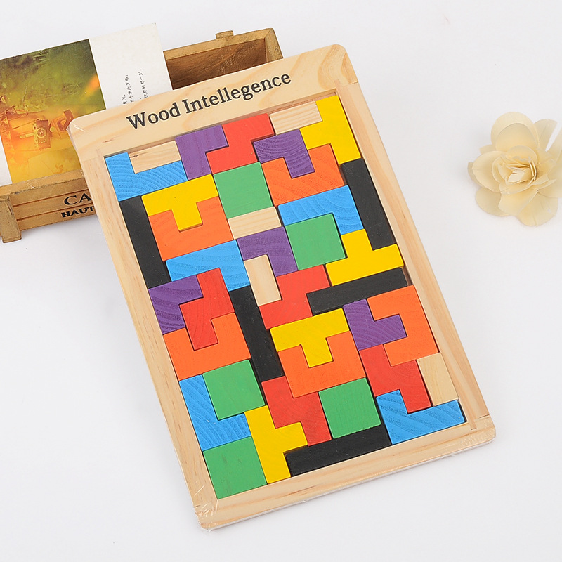 Colorful Wooden Tangram Brain Teaser Puzzle Toys Tetris Game Preschool Magination Intellectual Educational Kid Toy Children Gift metal puzzle iq mind brain game teaser square educational toy gift for children adult kid game toy