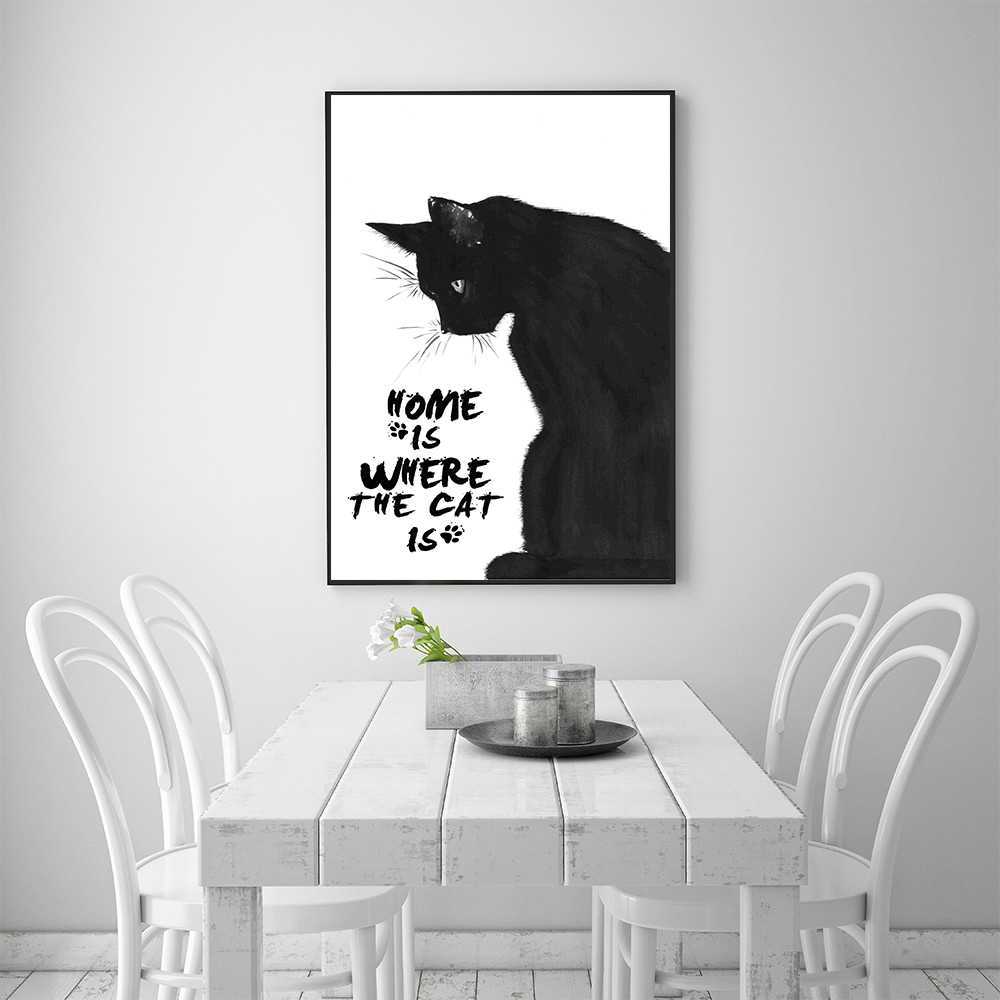 Nordic Poster Black White Wall Art Cat Painting Quotes Wall Decor Cuadros Decoracion Cute Cat Home is where cat is Cat Picture