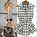 Fashion 2014 new arrival woman summer black stripe plaid blouse girl chiffon long design shirt
